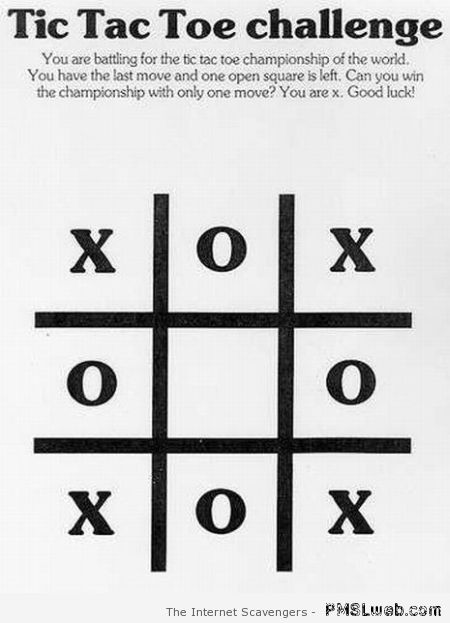 Tic tac toe for blondes – Procrastination humor at PMSLweb.com