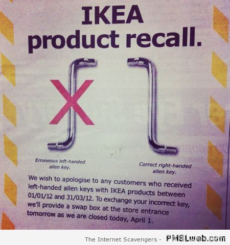 Ikea product recall fail – New week funnies at PMSLweb.com