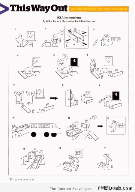 Ikea instructions by Mike Sacks at PMSLweb.com