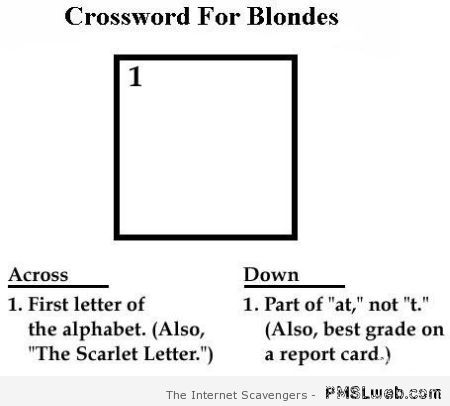 Crossword for blondes at PMSLweb.com