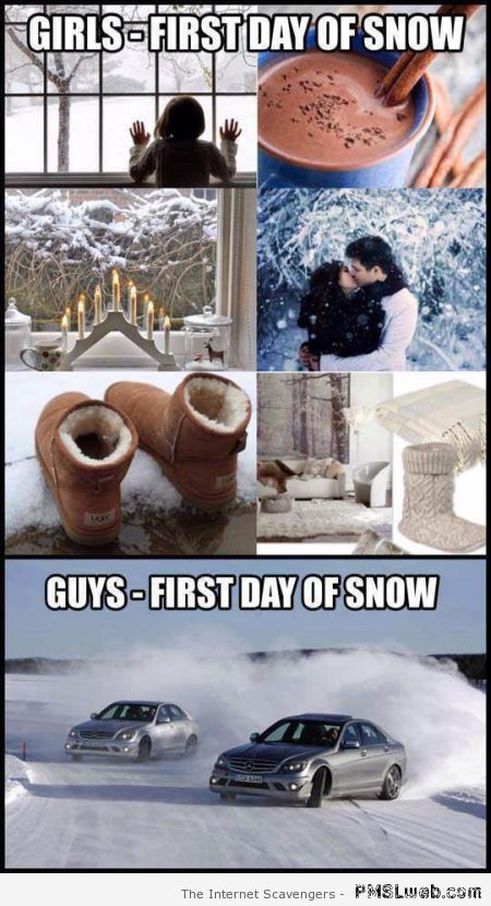 First day of snow girls versus boys meme at PMSLweb.com