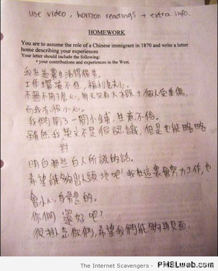 Homework Chinese immigrant funny at PMSLweb.com
