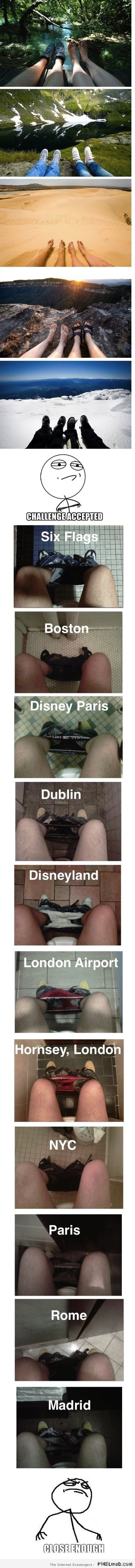 Photos of legs in toilets worldwide meme at PMSLweb.com