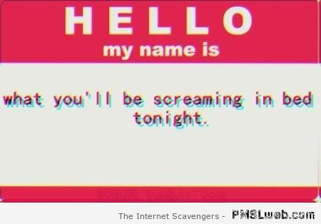 Hello my name is – Sunday humor at PMSLweb.com