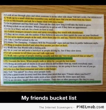 My friends bucket list funny – Thursday giggles at PMSLweb.com