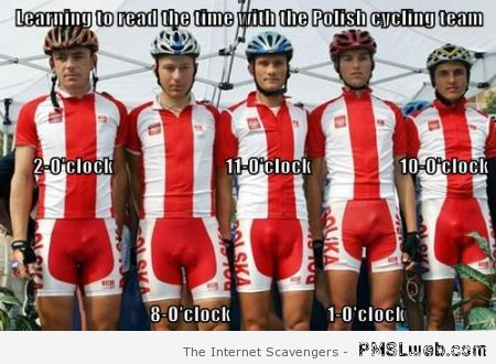 Reading the time with the Polish cycling team at PMSLweb.com