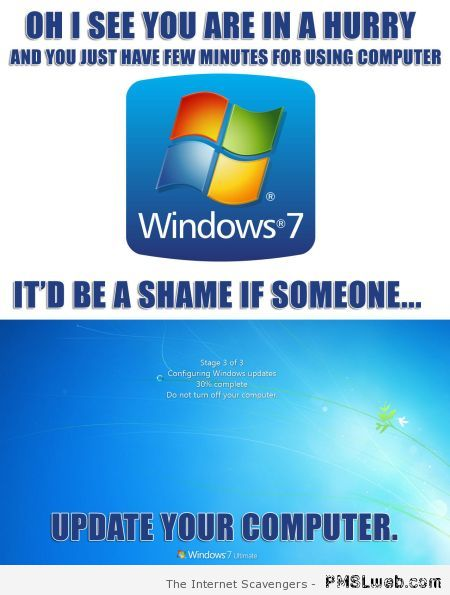 Windows updating your computer meme at PMSLweb.com