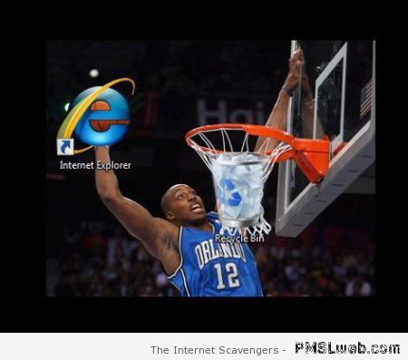 Internet explorer basketball dunk at PMSLweb.com