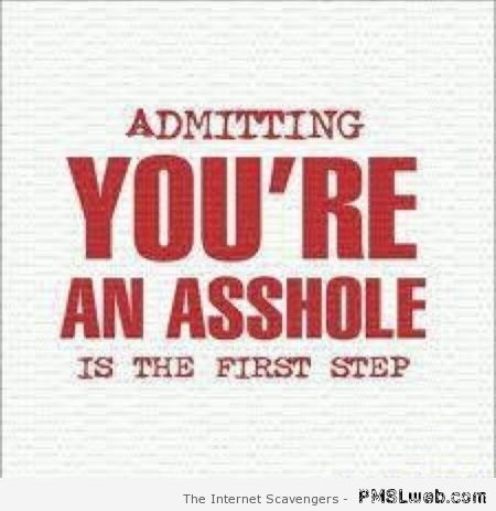 Admitting you're an a**hole is the first step at PMSLweb.com