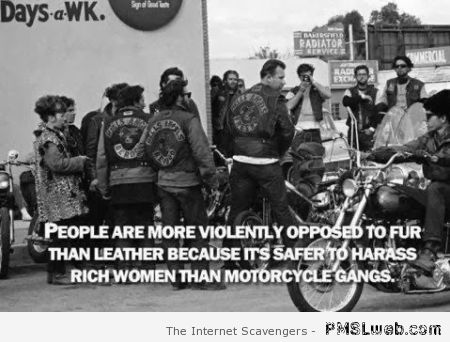 People are more violently opposed to fur than leather at PMSLweb.com