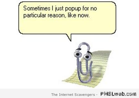 Microsoft clippy pops up for no reason at PMSLweb.com