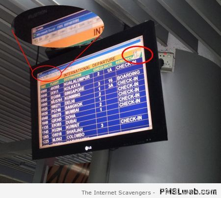 Microsoft paperclip on airport screen at PMSLweb.com