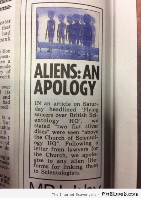 Aliens an apology newspaper clip at PMSLweb.com