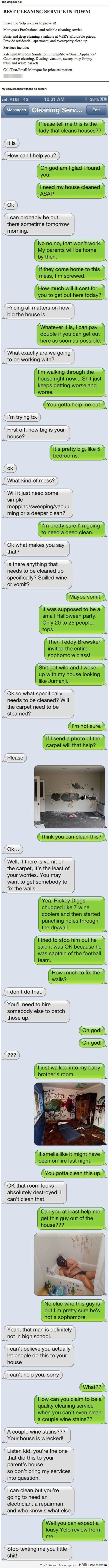 Cleaning service iPhone humor at PMSLweb.com