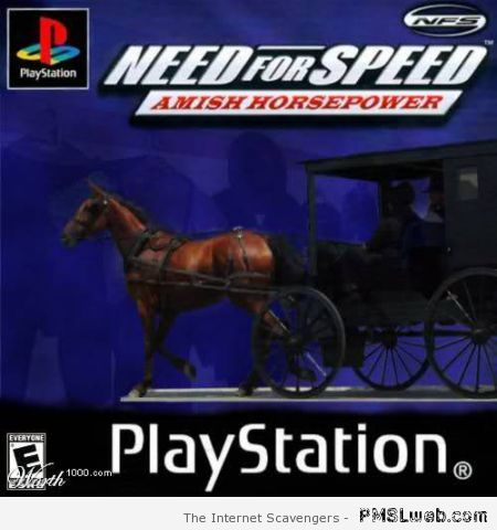 Need for speed Amish horsepower video game at PMSLweb.com