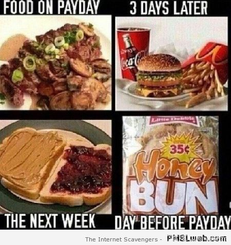 Food on payday then after – New week funnies at PMSLweb.com