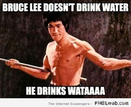 Bruce Lee doesn't drink water meme at PMSLweb.com