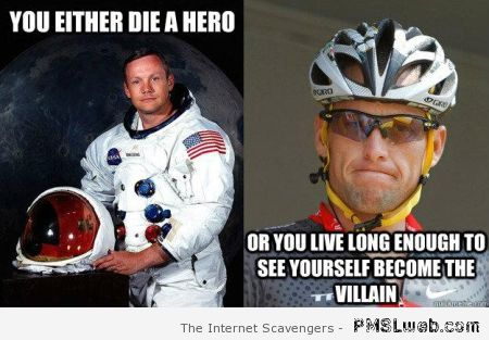 Neil Armstrong versus Lance Armstrong meme at PMSLweb.com