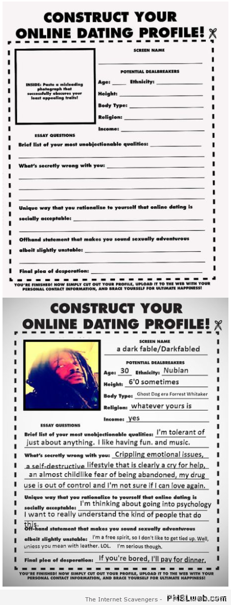 Construct your online dating profile at PMSLweb.com