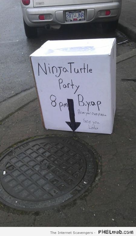 Ninja turtle party humor at PMSLweb.com