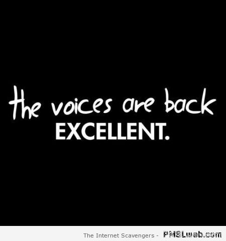 The voices are back excellent quote – New week humor at PMSLweb.com