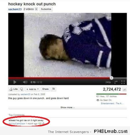 Funny hockey youtube comment – Tgif rofl at PMSLweb.com