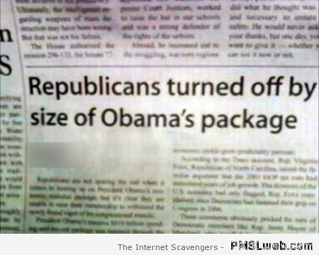 The size of Obama's package at PMSLweb.com