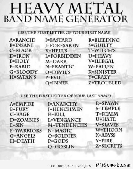 Heavy metal band name generator at PMSLweb.com