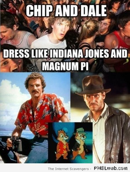 Chip n'Dale dress like Indiana Jones and Magnum PI at PMSLweb.com