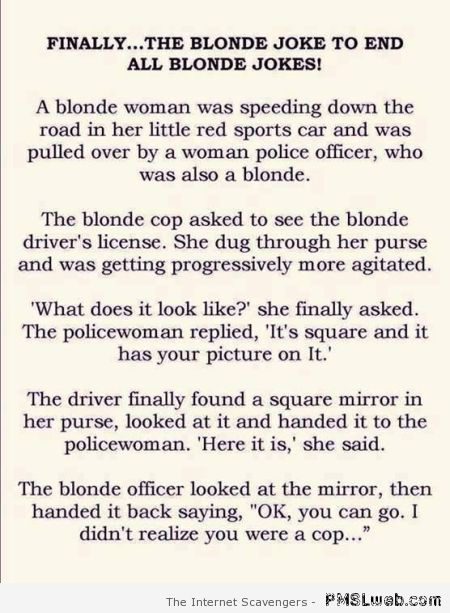 Blonde cop joke  - Hump day Lmao at PMSLweb.com