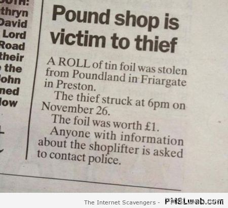 Funny newspaper clip at PMSLweb.com
