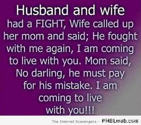 Husband and wife had a fight joke at PMSLweb.com