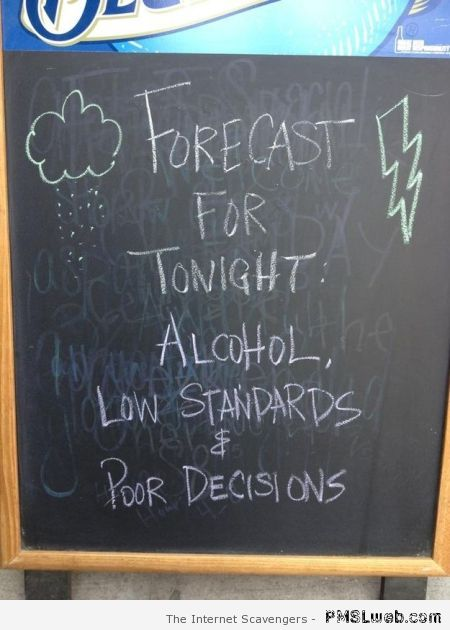 Forecast for tonight pub sign at PMSLweb.com