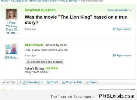 Was the lion king based on a true story at PMSLweb.com