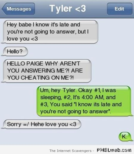 Paranoid boyfriend iPhone message – Hump day Lmao at PMSLweb.com