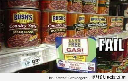 Baked beans earn free gas sign at PMSLweb.com