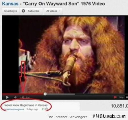 Funny Hagrid in Kansas youtube comment at PMSLweb.com