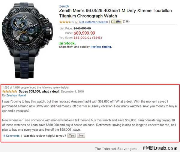 Funny expensive watch sale on amazon at PMSLweb.com