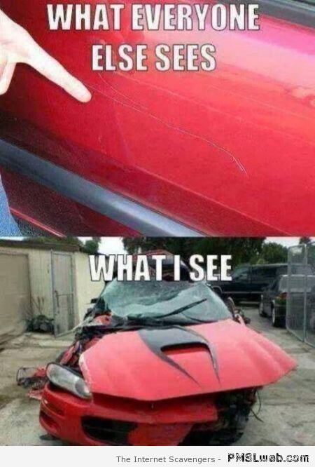 Car meme what I see vs what everyone else sees at PMSLweb.com