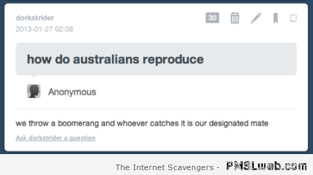 How do Australians reproduce humor at PMSLweb.com