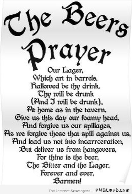 The beers prayer at PMSLweb.com