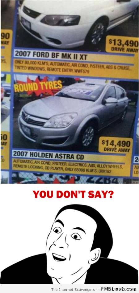 Car with round tires fail at PMSLweb.com
