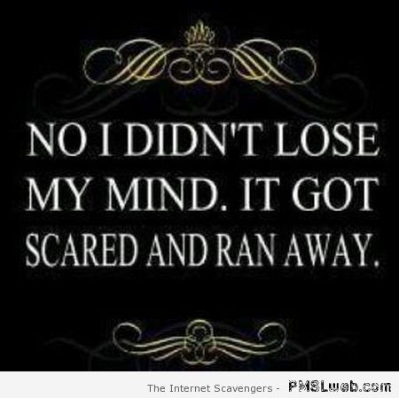 No I didn't lose my mind quote at PMSLweb.com