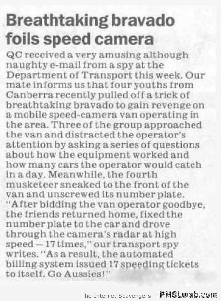 Aussies take revenge on speed camera at PMSLweb.com
