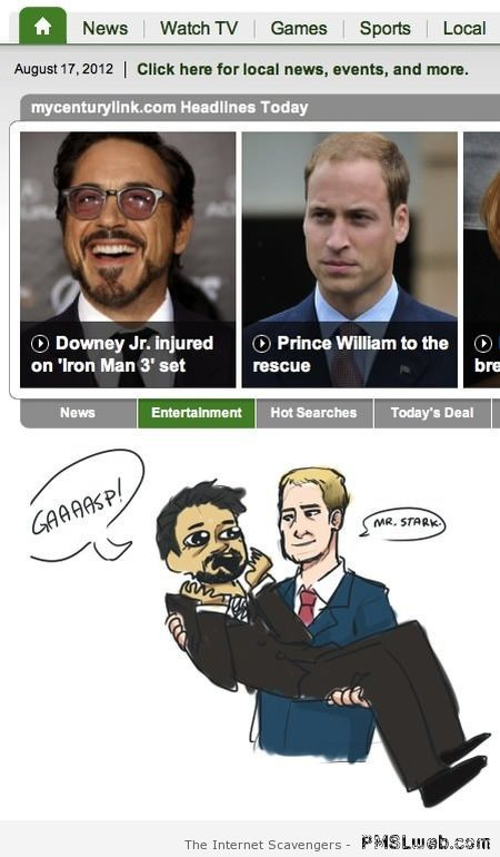 Downey Jr and Prince William funny at PMSLweb.com