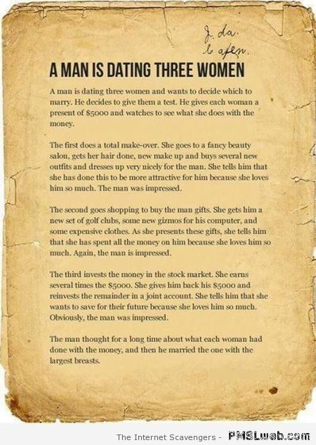 A man dating three women funny at PMSLweb.com