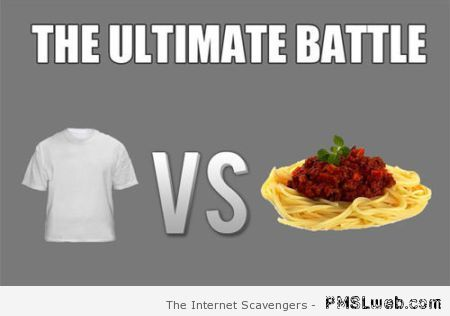 Spaghetti and white clothes meme at PMSLweb.com