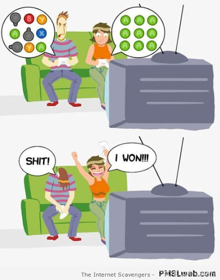 Gaming with girlfriend humor at PMSLweb.com