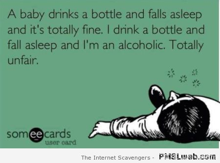 A baby drinks a bottle and falls asleep ecard at PMSLweb.com
