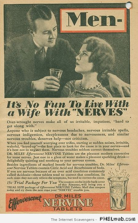 Funny retro advert living with a wife with nerves at PMSLweb.com
